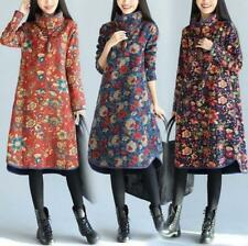 Ethnic Chinese Womens loose Floral print cotton linen long sleeve dress coat SZ