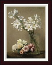 Global Gallery Lilies in a Vase by Henri Fantin-Latour Framed Painting Print