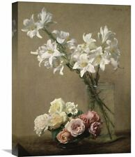 'Lilies in a Vase' by Henri Fantin-Latour Painting Print on Wrapped Canvas