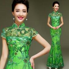 Womens Green Mermaid Chinese Dress Formal Evening Gown Prom Dress Sequins Qipao