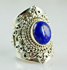 Lapis Lazuli Silver Ring 925 Solid Sterling Silver Handmade Jewelry Size 3-14 US
