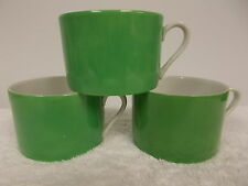 3 Vintage Fitz and Floyd Green and White Coffee Tea Cups Mugs
