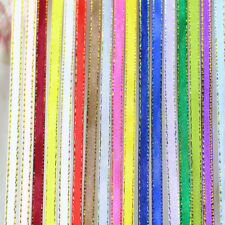 """25Yards 6mm 1/4"""" (22 Meters) Single Sided Gold Edge Satin Ribbons Gift Crafts"""