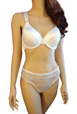 Full Figure Bra Set White Satin n Lace w Comfort Straps XL Hipster Panty BYR