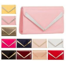 NEW LADIES PATENT LEATHER ARROW TRIM CHAIN STRAP PROM BRIDAL CLUTCH BAG PURSE