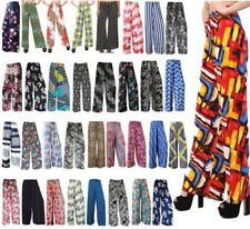 NEW WOMENS FLORAL ABSTRACT PRINT WIDE LEG PALAZZO TROUSERS PANTS UK 8-26
