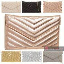 NEW LADIES FAUX LEATHER V QUILTED CHAIN STRAP EVENING CLUTCH SHOULDER BAG