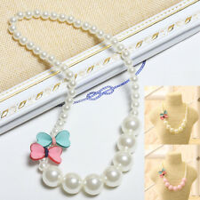 Necklace Jewelry Beautiful Fashion Girls Children Gift Pearl Bow-knot Cute