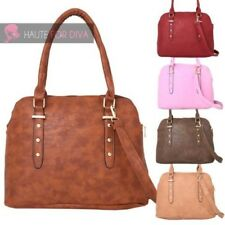 WOMENS NEW FAUX LEATHER SHELL SHAPE STUD DETAIL SHOULDER TOTE BAG