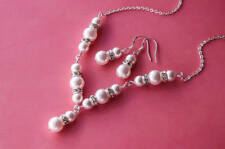 Wedding White Glass pearl & Silver Diamante AAA Chain Necklace SET Bridesmaids
