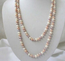"Long 16"" - 80"" 7-8mm Natural White & Pink & Purple Akoya Cultured Pearl Necklace"