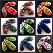3PCS Mixed Colour Sea Sediment Jasper & Pyrite Waterdrop Pendant Bead Set W-DT2