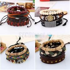 Vintage Unisex Woven Braided Wooden Beads PU Leather Bracelet Bangle Adjustable