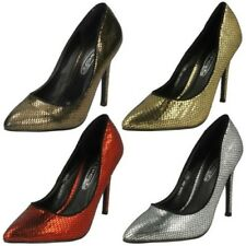 Ladies Spot On F9590 Snake Print Court Shoes Label ~ K
