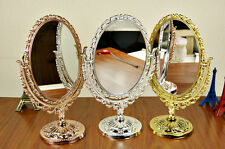 BRONZE VANITY MAKE UP COSMETIC TABLE BATHROOM MIRROR ON FOOT STAND GOLD/SILVER