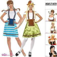 Bavarian Maid Wench Adult Ladies Oktoberfest Fancy Dress Costume Wig Pull-Up Hat