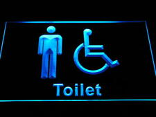 i1023-b Disabled Wheelchair Handicap Accessible Men Restroom Toilet Neon Sign