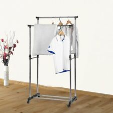 PORTABLE STAINLESS STEEL DOUBLE CLOTHES RACK HANGER CLOTH COAT GARMENT DRYER MC