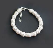 Wedding Bracelet White Glass Pearl With Wave Diamante AAA Bead Bridesmaid, GIFT
