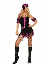 Sexy 4 Pc Women's Adult Pirate Wench Ribbon Lace Up Mini Dress Halloween Costume