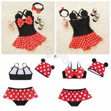 Kid Toddler Baby Girls Polka Dots Minnie Tankini Swimwear &Hat Hairband Swimsuit