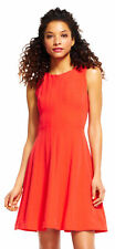 Adrianna Papell Paneled Fit And Flare Dress With Zip Up Front Bght Cayen