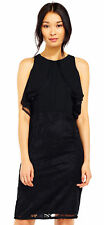 Adrianna Papell Ruffle Sheath Dress With Lace Details Black