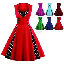 Women Retro 50s Swing Polka Dot Pinup Rockabilly Bodycon Party Dress Plus Size