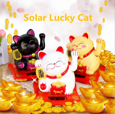 Solar Powered Welcoming Lucky Beckoning Hands Waving Fortune Cat Home Car Decor