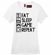 Eat Sleep Game Repeat Funny Ladies T Shirt Gamer Nerd Geek Gift Graphic Tee Z4