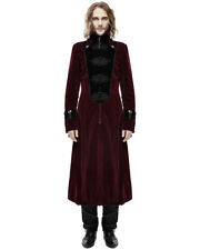 Devil Fashion Mens Long Gothic Coat Jacket Red Black Velvet Steampunk Aristocrat