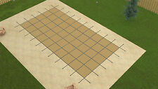 Rectangle TAN MESH In-Ground Swimming Pool Safety Cover 20 Year- (Choose Size)