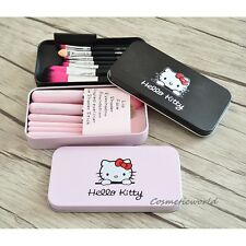 Hello Kitty Cosmetic Professional Makeup Brush Set of 7 Brushes with Box,