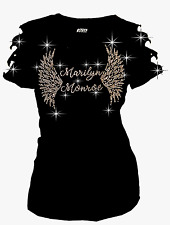 Bling Bling Marilyn Monroe & Angel Wings RHINESTONE T-Shirt Ripped Cut Out Short