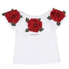 Kids Girl Off the Shoulder Short Sleeve Embroidery T-Shirt ESY1