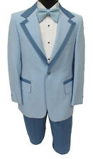 True Vintage Light Blue Tuxedo with Matching Pants, Vest, & Bow Tie Prom