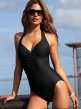 Elegant One Piece Swimsuit with Black Halter Style Top
