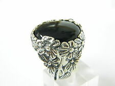 Modern SHABLOOL 925 Sterling Silver Black natural Onyx Cocktail Ring