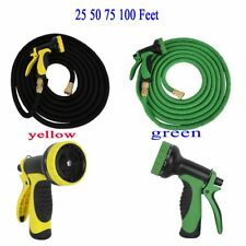 Deluxe 25 50 75 100 Feet Expandable Flexible Garden Water Hose w/ Spray Nozzle S