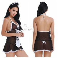 Women Lingerie Halter Maid Dress Fancy Costume Nightclub Wear G-string Sleepwear