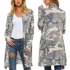 Womens Camo Open Amry Cardigan Coat  Camouflage Long Coat Outwear Jacket Vintage