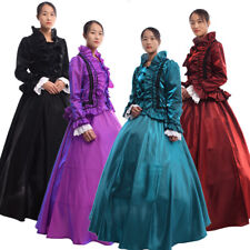 Vintage Victorian Long Sleeve Dress Gothic Court Ball Gown With Crinoline