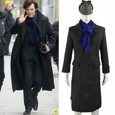 Cosplay Sherlock Holmes Cape Coat Costume Wool Long Jacket Outfit Costume New