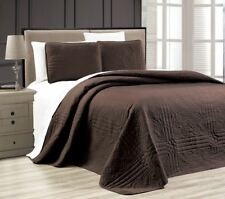 Twin XL Full Queen Cal King Bed Solid Brown 3 pc Quilt Set Coverlet Bedspread