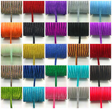 "5-50yards 3/8 ""10mm Sparkle Glitter Velvet Ribbon Headband Clips Bow Decoration"