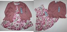 baby Gap NWT Girl Outfit Set Blush Pink Floral Dress & Sweater