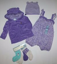 baby Gap NWT Girls 0 3 6 Mo. Outfit Set Romper + Hoodie Jacket + Hat + 4 Socks