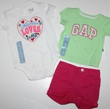 baby Gap NWT Girl 3 6 Mo 3 Pc. Outfit Set Aunt Bodysuit Top + Logo Top + Shorts