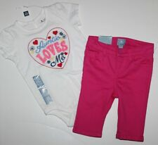 baby Gap NWT Girl Outfit Set Auntie Loves Me Bodysuit Top + Capri Pant