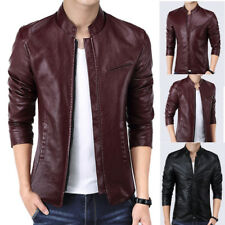 Casual Mens PU Leather Coat Slim Fit Motorcycle Jacket Stand Collar Fashion New